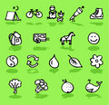 Nature,camping,green icons set Stock Photo