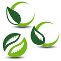 Nature circular symbols with leaf, natural simple elements, green eco labels with shadow - set 5 Royalty Free Stock Photo