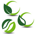 Nature circular symbols with leaf, natural simple elements, green eco labels with shadow - set 3 Royalty Free Stock Photo