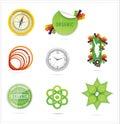 Nature creative ecology symbols set Royalty Free Stock Image