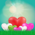 Nature ecology background with heart , sun and fresh grass