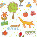 Nature and environment seamless pattern for kids Royalty Free Stock Photo