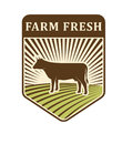 Nature fields retro farm label organic food production design agriculture symbol vector. Royalty Free Stock Photo