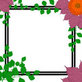 Nature frame. Green branches, purple leaves, flower daisies. Royalty Free Stock Photo