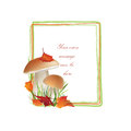 Nature frame with mushrooms fall decor autumn background copy space floral border isolated on white background food illustration Royalty Free Stock Images