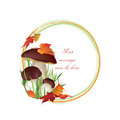 Nature frame with mushrooms fall decor autumn background copy space floral border isolated on white background food illustration Stock Photo