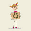 Nature girl hanging recycling signal on light yellow background Stock Image