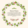 Nature green leaves vine and red flowers wreath. Royalty Free Stock Photo