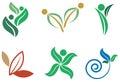 Nature green logo set isolated line art Stock Photography