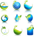 Nature healing symbols water leafs waves and fields clean and fresh feeling Royalty Free Stock Photos