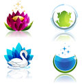 Nature and health symbols beautiful spa ecology care symbol collection beautiful swan flower clear water stars etc Royalty Free Stock Image