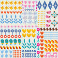 Nature hearts flowers dots fun characters note book paper seamless pattern Royalty Free Stock Photo