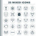 Nature Icons Set. Collection Of Duck, Toad, Moth And Other Elements. Also Includes Symbols Such As Kine, Bear, Cobweb.
