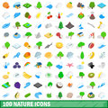 100 nature icons set, isometric 3d style