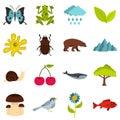 Nature items set flat icons