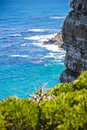 Nature landscape next to cape town city oceanscape with high cliff Stock Images