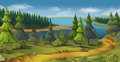 Nature landscape, pine forest