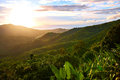 Nature landscape of thailand sunset scenery background environ scenic view green hills island during or sunrise with beautiful sky Stock Photo