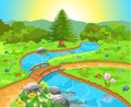 Nature landscape with water spring vector illustration of and flowers Royalty Free Stock Photo
