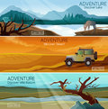 Nature landscapes travel flat banners set Royalty Free Stock Photo