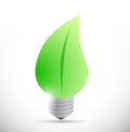 Nature leave light bulb eco lightbulb illustration design over white Stock Images