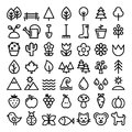 Nature line icons, minimalist park, animals, ecology, organic food design - big pack