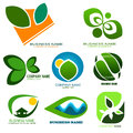 Nature logos set of green Stock Image