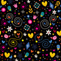 Nature love harmony hearts flowers dots fun characters seamless pattern Royalty Free Stock Photo