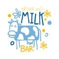 Nature milk bar logo symbol. Colorful hand drawn illustration