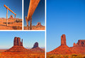 Nature in monument valley navajo park utah usa collage of photos from famous red sand desert landmark summer colorful landscapes Stock Photo
