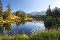 Nature mountain scene with beautiful lake in Slovakia Tatra