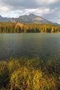 Nature mountain scene with beautiful lake - Strbske pleso, verti