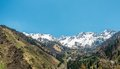 Nature of mountains snow and blue sky road on medeo in almaty kazakhstan asia at summer Stock Photography