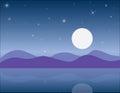 Nature at night, Vector illustrations landscape