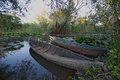 Nature park Hutovo Blato boats II Royalty Free Stock Photos