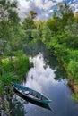 Nature park hutovo blato bosnia and herzegovina boat at Stock Photos