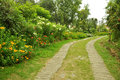 Nature path with garden a beautiful Stock Photos
