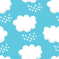Nature pattern with white clouds and raindrops on blue background. Ornament for children`s textiles and wrapping. Vector