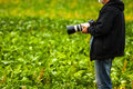 Nature photographer professional with slr reflex camera waiting for ideal moment to take photo Stock Image