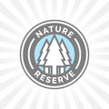 Nature reserve icon badge. Protected forest sign. Trees silhouette