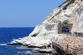 Nature reserve rosh hanikra is a geologic formation in israel located on the coast of the mediterranean sea the western galilee Stock Photography