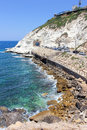 Nature reserve rosh hanikra is a geologic formation in israel located on the coast of the mediterranean sea the western galilee Royalty Free Stock Photo