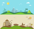 Nature saving and pollution flat illustration eps Royalty Free Stock Image