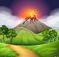 Nature scene of volcano eruption