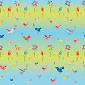 Nature seamless pattern flowers and birds on colorful background Royalty Free Stock Image