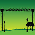 Nature with sparrow and street lights vector Royalty Free Stock Photo