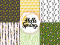 Nature Spring Trendy Seamless Patterns
