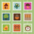 Nature stamps Royalty Free Stock Photos