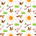 Nature summer sun and bird illustration seamless pattern background floral vector Royalty Free Stock Photo