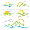 Nature sunrise mountain logo Royalty Free Stock Photo